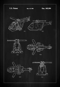 Patent Print - Lego Helicopter - Black Poster