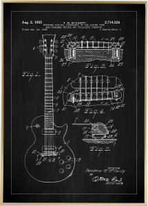 Patentritning - Elgitarr I - Svart Poster