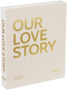KAILA OUR LOVE STORY Creme - Coffee Table Photo Album (60 Svarta Sidor)