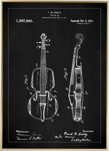 Patentritning - Fiol - Svart Poster