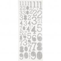 Focus Glitterstickers Silver Numbers