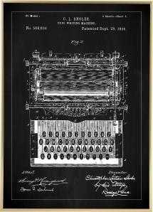 Patentritning - Skrivmaskin - Svart Poster