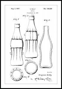 Patentritning - Coca Cola-flaska Poster