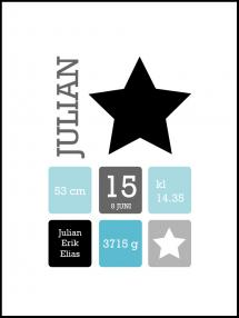Star Birth Poster Black/Blue