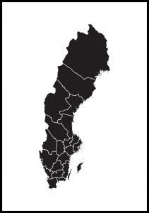 Sverigekarta Svart Poster