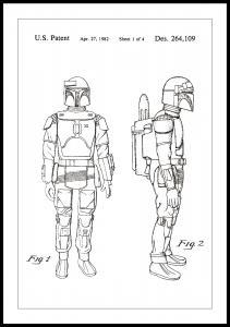 Patentritning - Star Wars - Boba Fett - Vit Poster