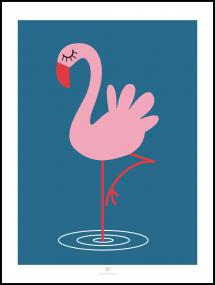 Flamingo - Blue Poster