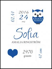 Owl Birth Poster Navy