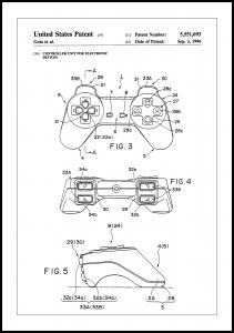 Patent Print - Game Controller II - White Poster