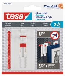Tesa - Justerbar självhäftande spik för alla typer av väggar (max 2x2kg)