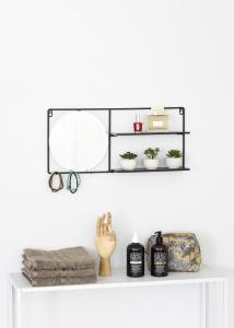 KAILA Rund Spegel med hylla - Svart 55x25 cm