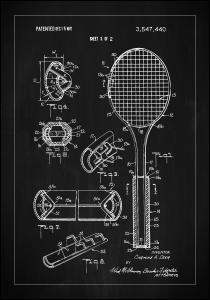 Patent Print - Tennis Racket - Black Poster