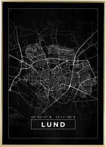Karta - Lund - Svart Poster