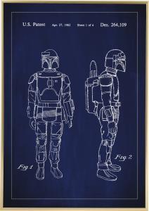 Patentritning - Star Wars - Boba Fett - Blå Poster