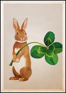 Rabbit with clover Poster