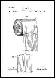 Patent Print - Toilet Paper Roll - White Poster