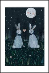 Rabbits in the Forest Poster
