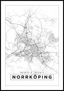 Karta - Norrköping - Vit Poster