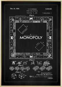 Patentritning - Monopol I - Svart Poster