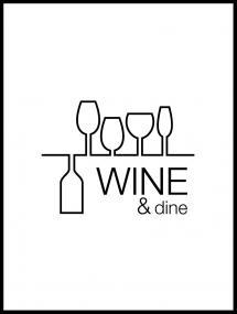 Wine & dine - Vit med svart tryck Poster