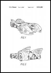 Patentritning - Batman - Batmobile 1990 I Poster