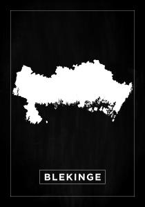 Karta - Blekinge - Svart Poster