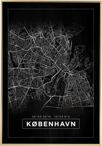 Karta - København - Svart Poster
