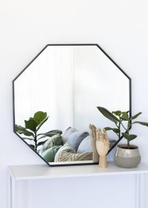 KAILA Mirror Octagon Black 70 cm Ø
