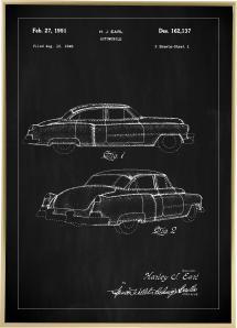 Patentritning - Cadillac I - Svart Poster