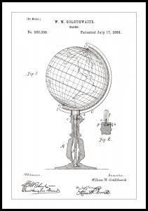 Patentritning - Jordglob - Vit Poster