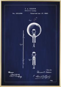 Patentritning - Glödlampa B - Blå Poster