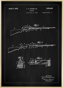 Patentritning - Gevär I - Svart Poster