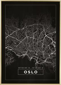 Karta - Oslo - Svart Poster