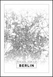 Karta - Berlin - Vit Poster