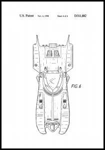 Patentritning - Batman - Batmobile 1990 IIII Poster