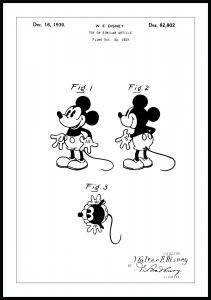 Patentritning - Disney - Musse Pigg Poster