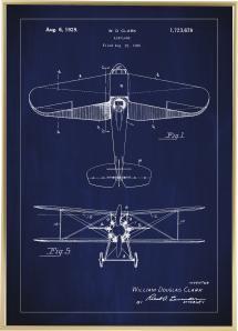 Patentritning - Flygplan - Blå Poster