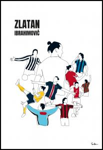 History Of Zlatan With Name And-Colours Poster