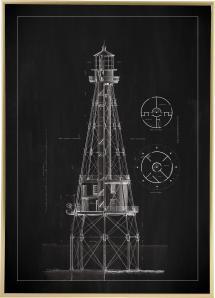 Griffeltavla - Fyr - Ship Shoal Lighthouse Poster