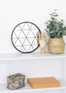 KAILA Rund Spegel Triangles - Svart 35 cm Ø