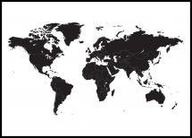 Världskarta - Svart Poster