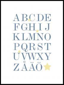 ABC - Blå/Beige Poster