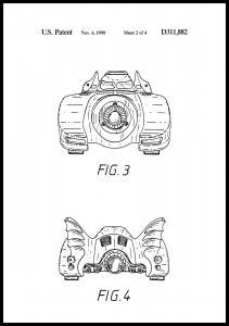 Patentritning - Batman - Batmobile 1990 II Poster