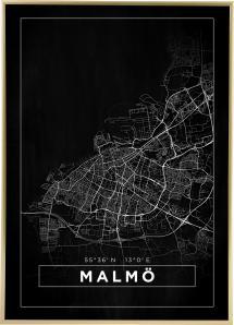 Karta - Malmö - Svart Poster