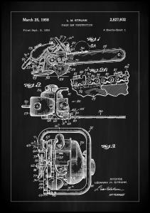 Patent Print - Chain Saw - Black Poster