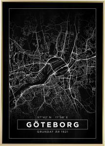Karta - Göteborg - Svart Poster
