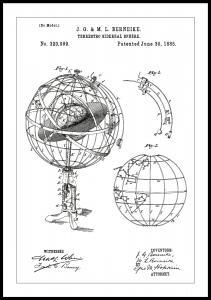 Patentritning - Astronomisk modell - Vit Poster