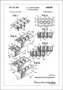 Patent Print - Lego Block I - White Poster