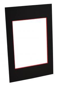 Passepartout Svart (Röd kärna) - Måttbeställd