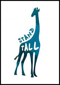 Giraffe stand tall - Blå Poster